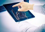 businessman holding digital tablet pc in the office