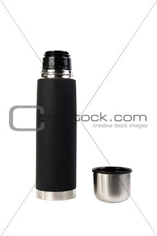 Black thermos isolated on white background
