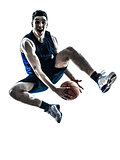 caucasian man basketball player jumping silhouette