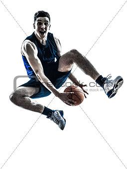 caucasian man basketball player jumping silhouette