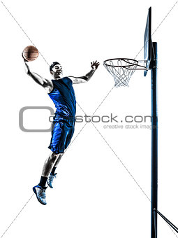 caucasian man basketball player jumping dunking silhouette