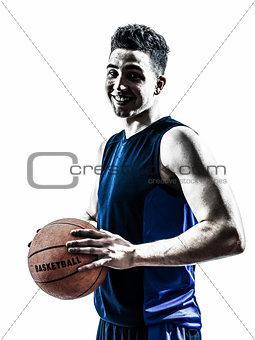 caucasian man basketball player silhouette
