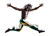 Brazilian  black man running jumping silhouette