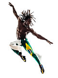 Brazilian  black man dancer dancing jumping  silhouette
