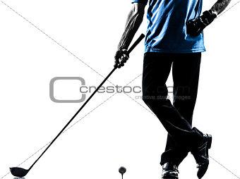 close up man golfer golfing  silhouette