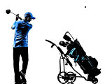 man golfer golfing golf bag  silhouette