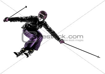 one woman skier skiing slaloming  silhouette