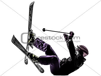 one woman skier skiing falling silhouette