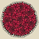 Round floral ornament like bouquet of red flowers