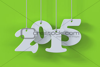 2015 white paper origami card on green background