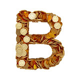 Alphabet letter B with golden coins isolated on white background
