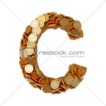 Alphabet letter C with golden coins isolated on white background