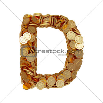 Alphabet letter D with golden coins isolated on white background