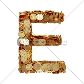 Alphabet letter E with golden coins isolated on white background