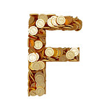 Alphabet letter F with golden coins isolated on white background
