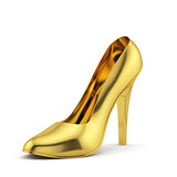 Golden high heel on white background isolated