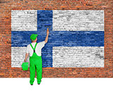 House painter covers wall with flag of Finland