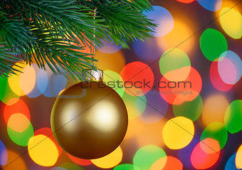 Christmas Ball on the Fir Branch on the Holiday Lights Background