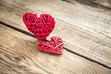 Handmade retro hearts on the wooden background