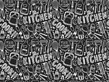 doodle seamless Cooking and kitchen background