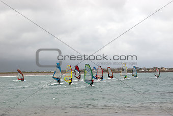 Atlantic wind surfers racing in the storm winds