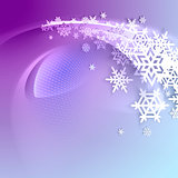 Abstract purple winter background with snowflakes