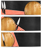 Set of Kitchen Banners with Blackboard