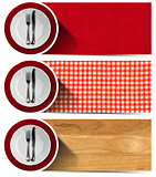 Set of Kitchen Banners with Plates