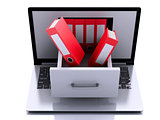 3d Laptop with ring binders. Data storage.