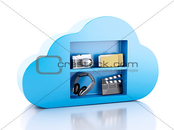 3d Cloud computing concept with multimedia icons on white backgr