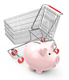 piggy bank with shopping cart