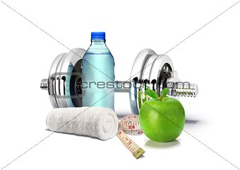 Fitness Concept with Dumbbell and Apple