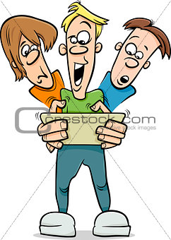 boys playing game cartoon illustration