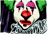 sad clown drawing illustration