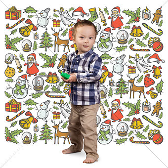 Little Boy Looking For Christmas Gifts