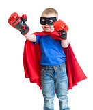 Superhero kid boy in mask playing isolated