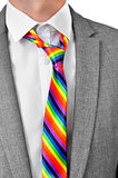 businessman with rainbow necktie