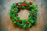 christmas wreath on a rustic door