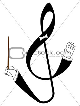 Abstract  treble clef as conductor