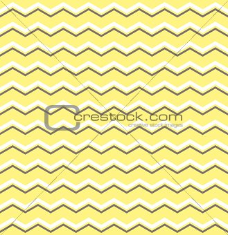 Tile vector pattern with white and brown zig zag on yellow background