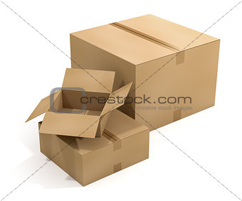 Three Shipping Boxes