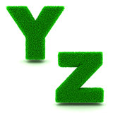 Letters Y, Z of 3d Green Grass - Set.