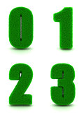 Digits 0, 1, 2, 3 of 3d Green Grass - Set.