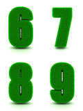 Digits 6, 7, 8, 9 of 3d Green Grass - Set.