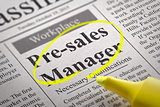 Pre-sales Manager Vacancy in Newspaper.
