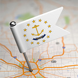 Rhode Island Small Flag on a Map Background.