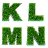 Letters K, L, M, N  as Lawn - Set of 3d.