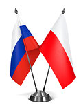 Russia and Poland  - Miniature Flags.
