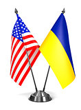 USA and Ukraine - Miniature Flags.
