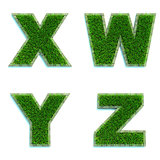 Letters X, W, Y, Z as Lawn - Set of 3d.